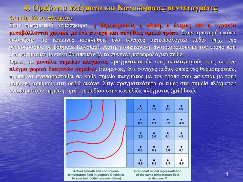 1 4.1) Οριζόντια πλέγματα Στην πραγματική ατμόσφαιρα, η θερμοκρασία, η πίεση, ο άνεμος και η υγρασία μεταβάλλονται χωρικά με ένα συνεχή και συνήθως ομαλό τρόπο.