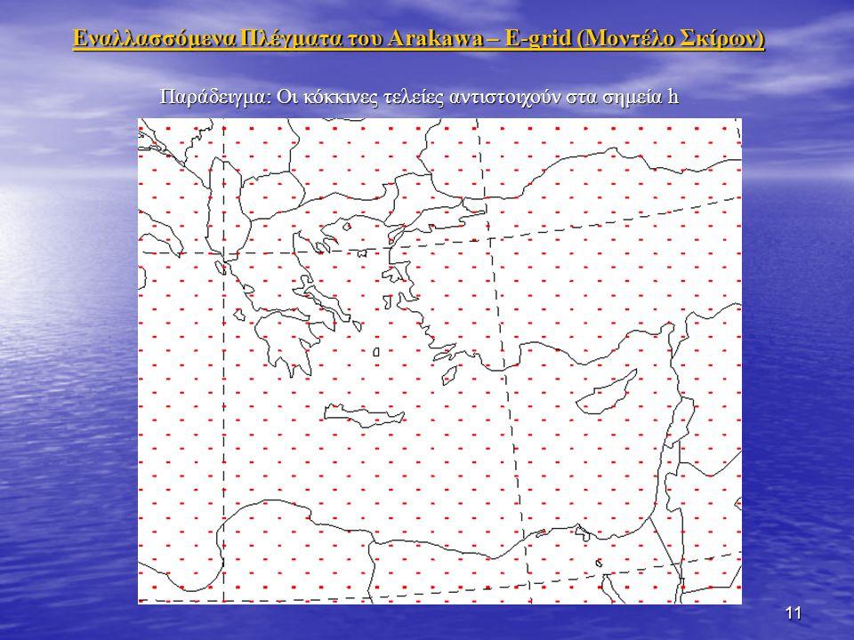 11 Εναλλασσόμενα Πλέγματα του Arakawa – Ε-grid (Μοντέλο Σκίρων) Παράδειγμα: Οι κόκκινες τελείες αντιστοιχούν στα σημεία h
