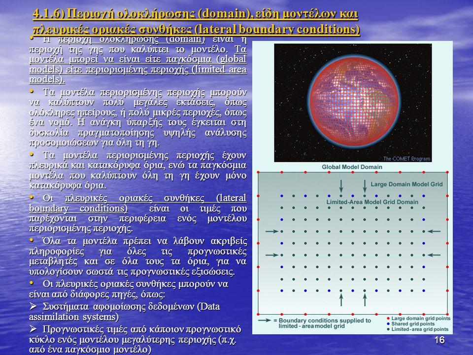 16 Η περιοχή ολοκλήρωσης (domain) είναι η περιοχή της γης που καλύπτει το μοντέλο.