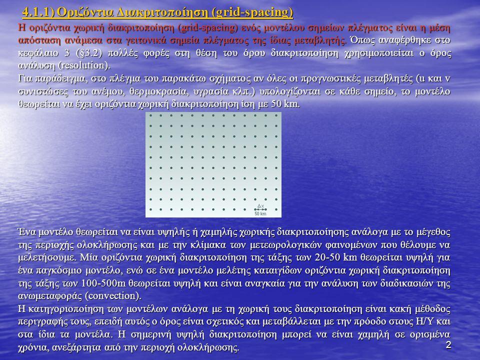 2 Η οριζόντια χωρική διακριτοποίηση (grid-spacing) ενός μοντέλου σημείων πλέγματος είναι η μέση απόσταση ανάμεσα στα γειτονικά σημεία πλέγματος της ίδιας μεταβλητής.