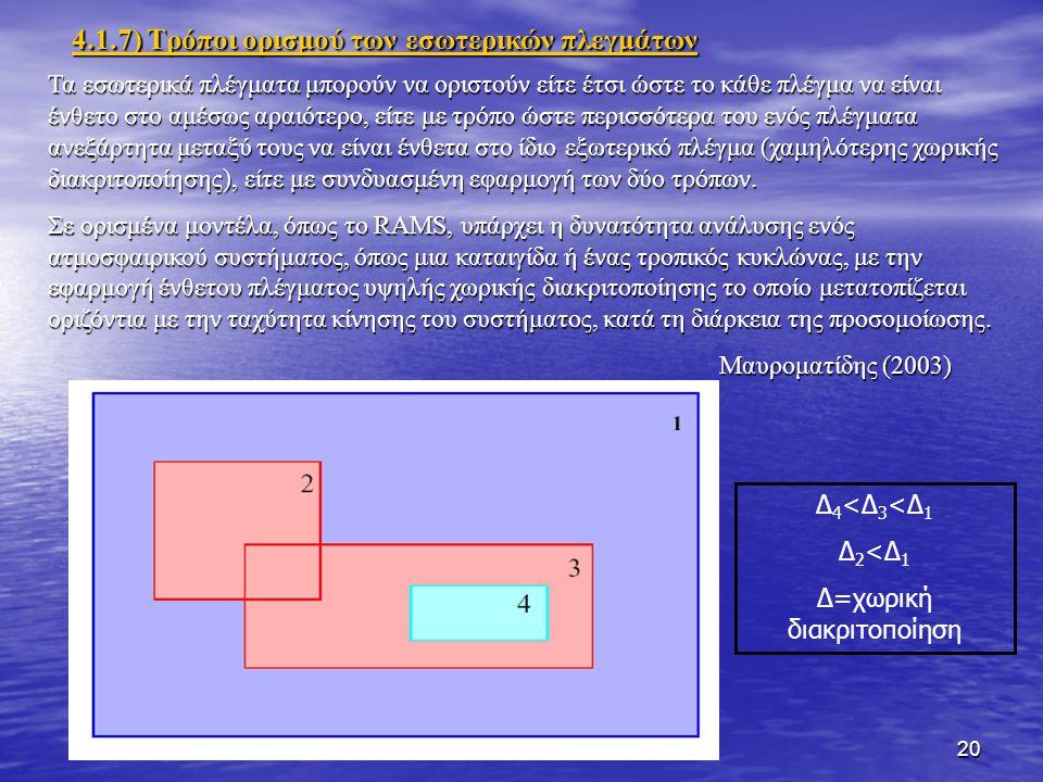 20 4.1.7) Τρόποι ορισμού των εσωτερικών πλεγμάτων Τα εσωτερικά πλέγματα μπορούν να οριστούν είτε έτσι ώστε το κάθε πλέγμα να είναι ένθετο στο αμέσως αραιότερο, είτε με τρόπο ώστε περισσότερα του ενός πλέγματα ανεξάρτητα μεταξύ τους να είναι ένθετα στο ίδιο εξωτερικό πλέγμα (χαμηλότερης χωρικής διακριτοποίησης), είτε με συνδυασμένη εφαρμογή των δύο τρόπων.