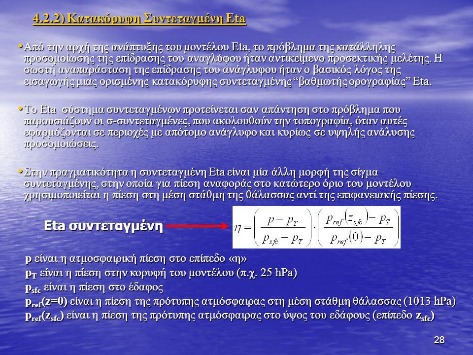 28 Από την αρχή της ανάπτυξης του μοντέλου Eta, το πρόβλημα της κατάλληλης προσομοίωσης της επίδρασης του αναγλύφου ήταν αντικείμενο προσεκτικής μελέτης.