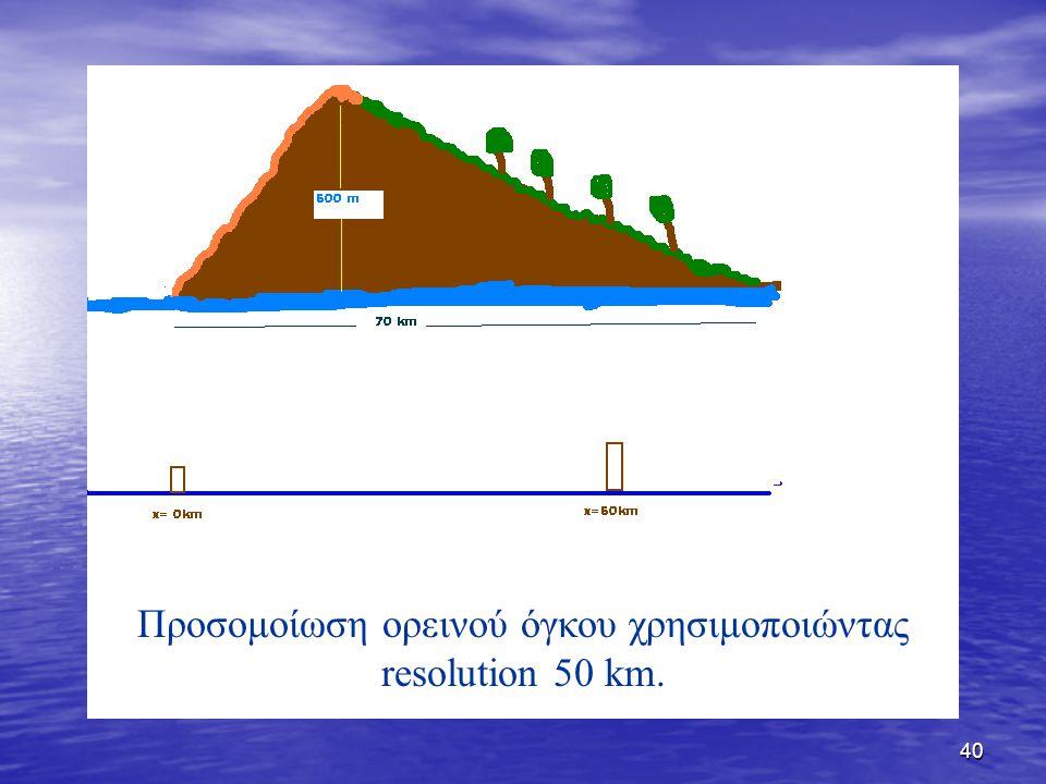 40 Προσομοίωση ορεινού όγκου χρησιμοποιώντας resolution 50 km.