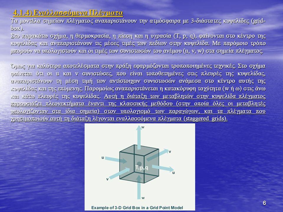 6 Tα μοντέλα σημείων πλέγματος αναπαριστάνουν την ατμόσφαιρα με 3-διάστατες κυψελίδες (grid- box).