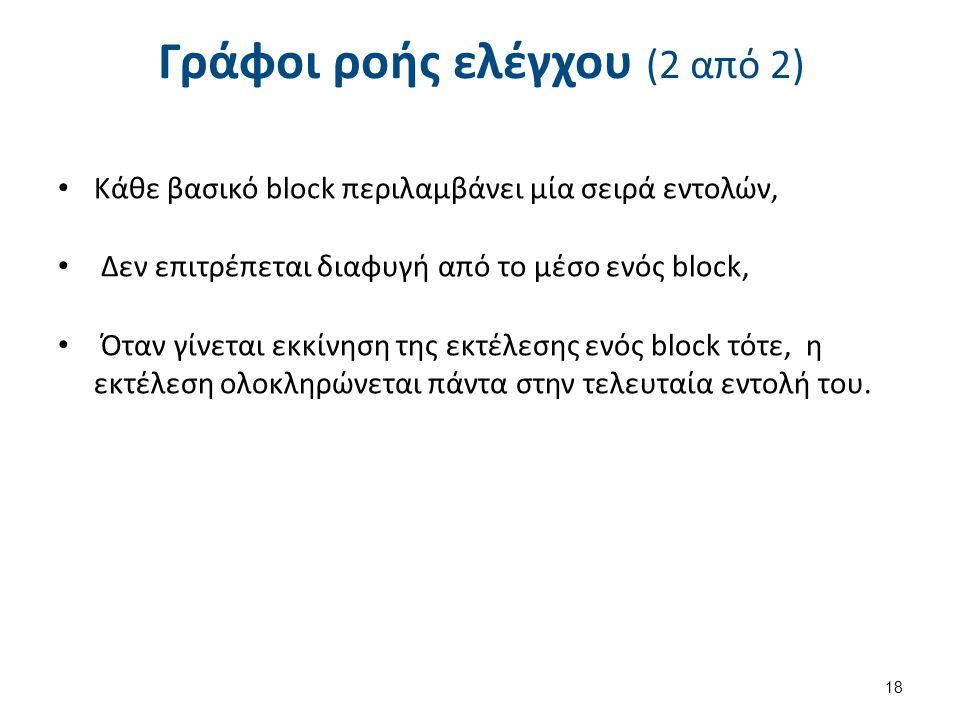 Γράφοι ροής ελέγχου (2 από 2) Κάθε βασικό block περιλαμβάνει μία σειρά εντολών, Δεν επιτρέπεται διαφυγή από το μέσο ενός block, Όταν γίνεται εκκίνηση της εκτέλεσης ενός block τότε, η εκτέλεση ολοκληρώνεται πάντα στην τελευταία εντολή του.