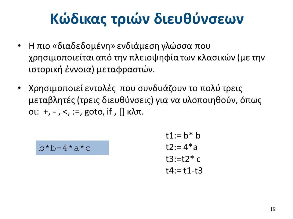 Κώδικας τριών διευθύνσεων Η πιο «διαδεδομένη» ενδιάμεση γλώσσα που χρησιμοποιείται από την πλειοψηφία των κλασικών (με την ιστορική έννοια) μεταφραστών.