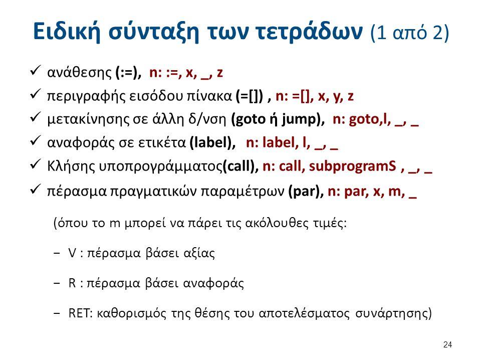 Ειδική σύνταξη των τετράδων (1 από 2) ανάθεσης (:=), n: :=, x, _, z περιγραφής εισόδου πίνακα (=[]), n: =[], x, y, z μετακίνησης σε άλλη δ/νση (goto ή jump), n: goto,l, _, _ αναφοράς σε ετικέτα (label), n: label, l, _, _ Κλήσης υποπρογράμματος(call), n: call, subprogramS, _, _ πέρασμα πραγματικών παραμέτρων (par), n: par, x, m, _ (όπου το m μπορεί να πάρει τις ακόλουθες τιμές: −V : πέρασμα βάσει αξίας −R : πέρασμα βάσει αναφοράς −RET: καθορισμός της θέσης του αποτελέσματος συνάρτησης) 24