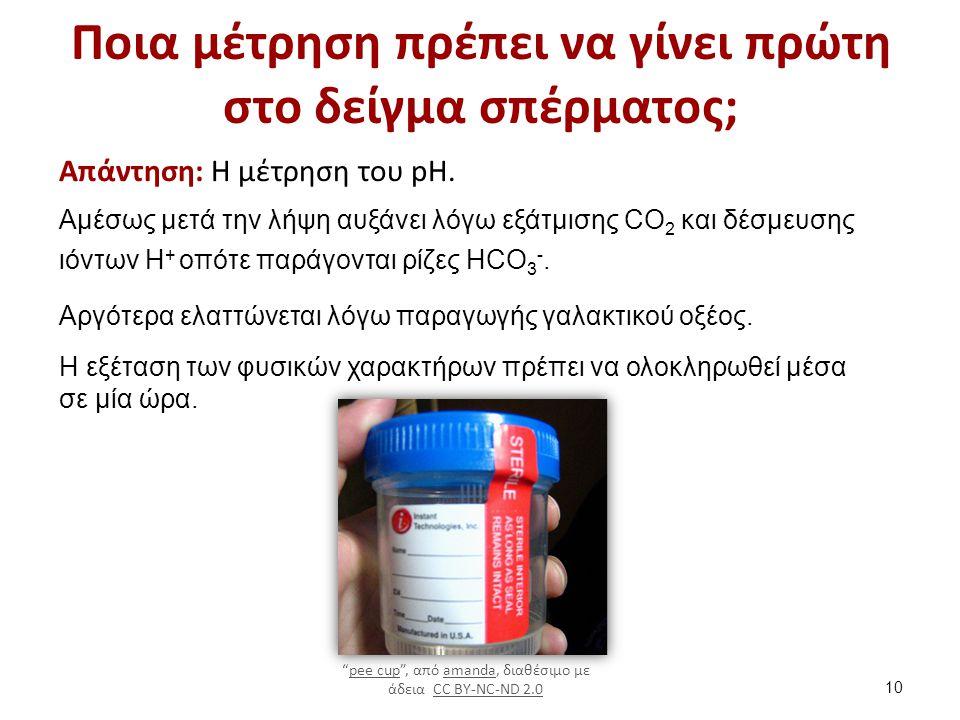 Ποια μέτρηση πρέπει να γίνει πρώτη στο δείγμα σπέρματος; Απάντηση: H μέτρηση του pH. Αμέσως μετά την λήψη αυξάνει λόγω εξάτμισης CO 2 και δέσμευσης ιό
