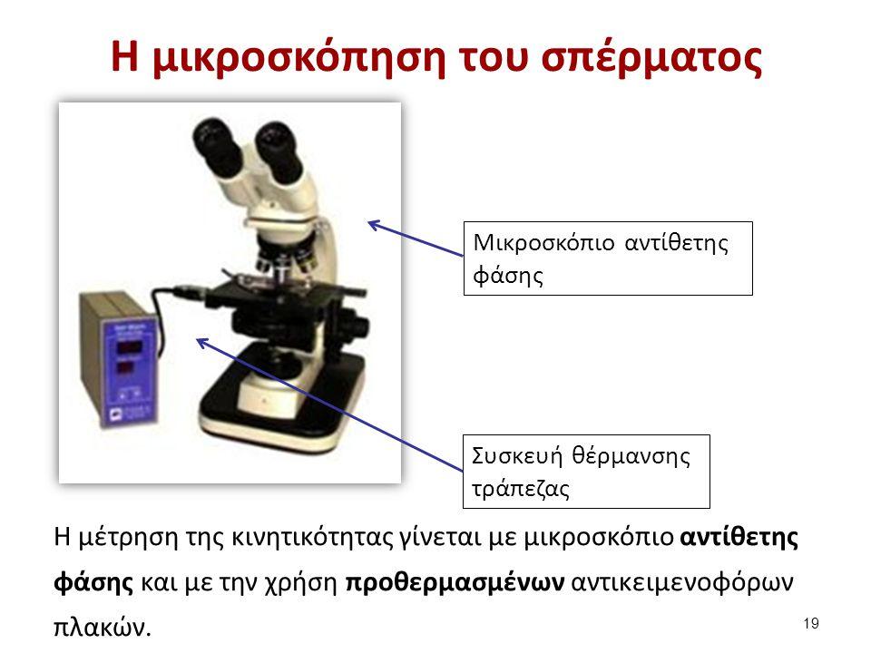 Η μικροσκόπηση του σπέρματος H μέτρηση της κινητικότητας γίνεται με μικροσκόπιο αντίθετης φάσης και με την χρήση προθερμασμένων αντικειμενοφόρων πλακώ