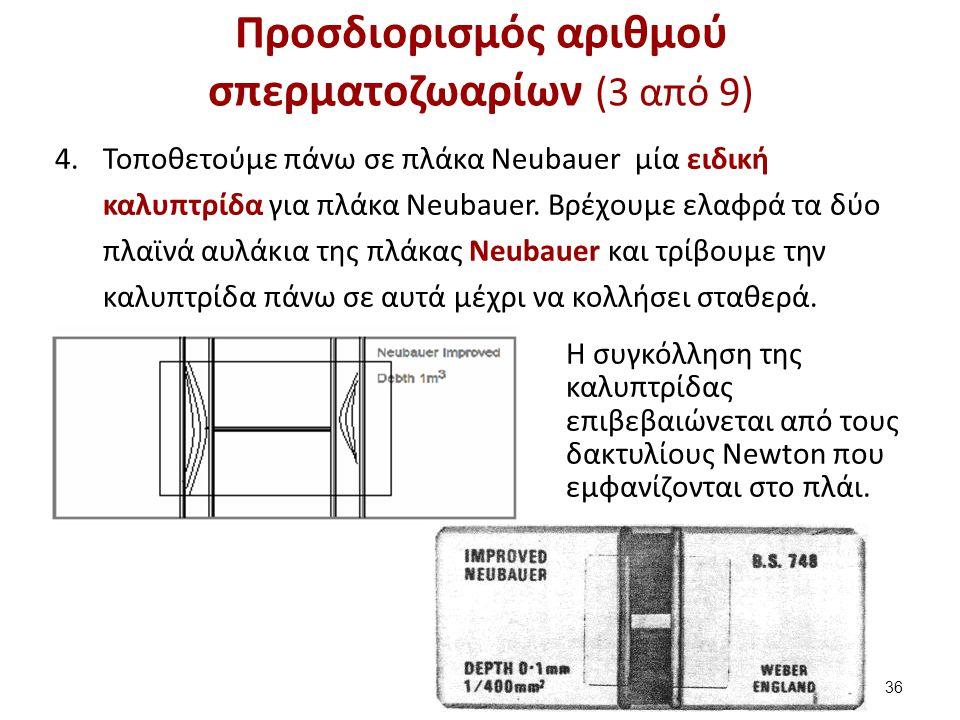 Προσδιορισμός αριθμού σπερματοζωαρίων (3 από 9) 4.Τοποθετούμε πάνω σε πλάκα Neubauer μία ειδική καλυπτρίδα για πλάκα Neubauer. Βρέχουμε ελαφρά τα δύο