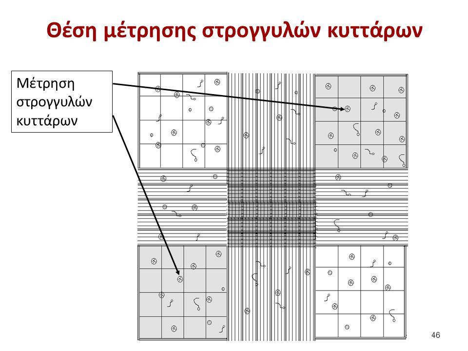 Θέση μέτρησης στρογγυλών κυττάρων Μέτρηση στρογγυλών κυττάρων 46
