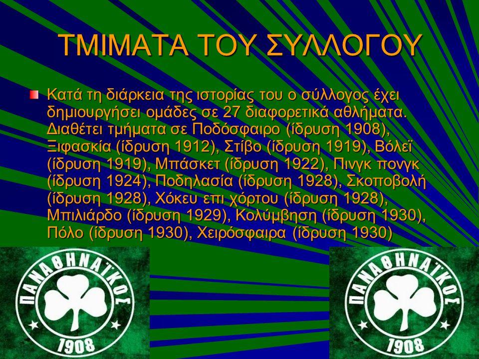 ΤΜΙΜΑΤΑ ΤΟΥ ΣΥΛΛΟΓΟΥ Κατά τη διάρκεια της ιστορίας του ο σύλλογος έχει δημιουργήσει ομάδες σε 27 διαφορετικά αθλήματα. Διαθέτει τμήματα σε Ποδόσφαιρο