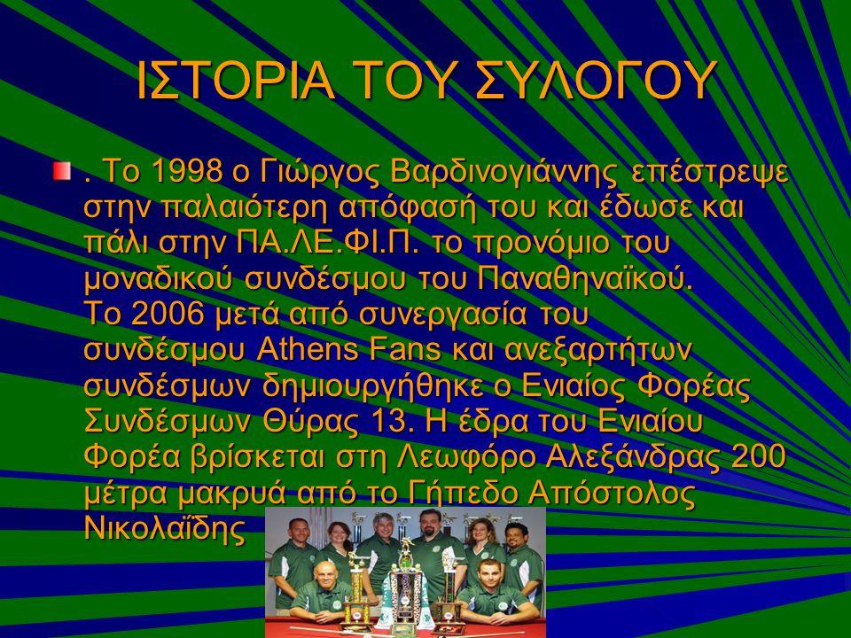 ΙΣΤΟΡΙΑ ΤΟΥ ΣΥΛΟΓΟΥ. Το 1998 ο Γιώργος Βαρδινογιάννης επέστρεψε στην παλαιότερη απόφασή του και έδωσε και πάλι στην ΠΑ.ΛΕ.ΦΙ.Π. το προνόμιο του μοναδι