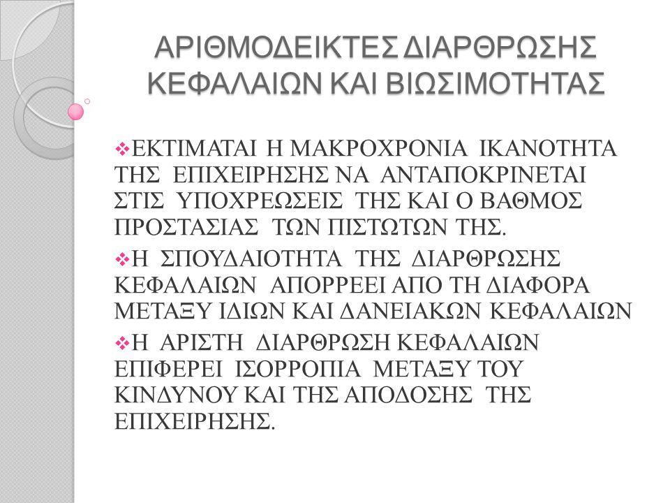 ΑΡΙΘΜΟΔΕΙΚΤΕΣ ΔΙΑΡΘΡΩΣΗΣ ΚΕΦΑΛΑΙΩΝ ΚΑΙ ΒΙΩΣΙΜΟΤΗΤΑΣ  ΕΚΤΙΜΑΤΑΙ Η ΜΑΚΡΟΧΡΟΝΙΑ ΙΚΑΝΟΤΗΤΑ ΤΗΣ ΕΠΙΧΕΙΡΗΣΗΣ ΝΑ ΑΝΤΑΠΟΚΡΙΝΕΤΑΙ ΣΤΙΣ ΥΠΟΧΡΕΩΣΕΙΣ ΤΗΣ ΚΑΙ Ο Β