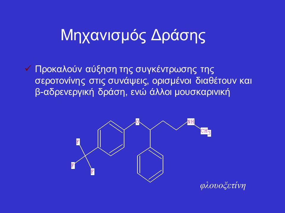 Μηχανισμός Δράσης Προκαλούν αύξηση της συγκέντρωσης της σεροτονίνης στις συνάψεις, ορισμένοι διαθέτουν και β-αδρενεργική δράση, ενώ άλλοι μουσκαρινική φλουοξετίνη