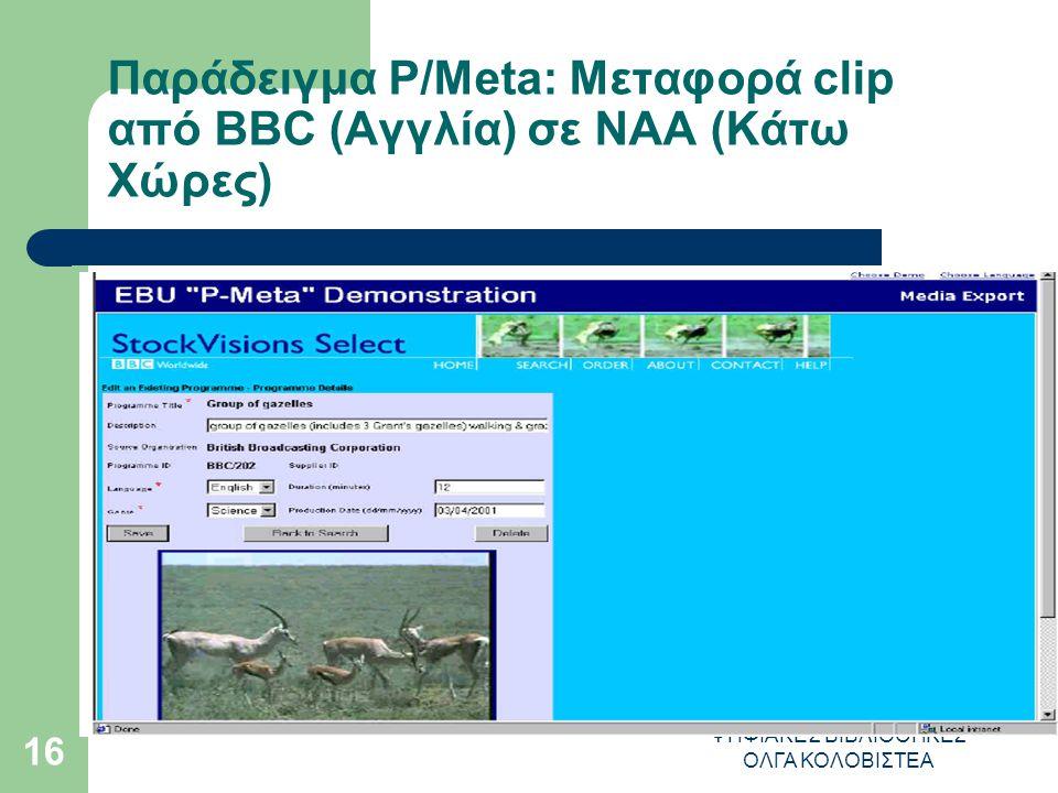 ΨΗΦΙΑΚΕΣ ΒΙΒΛΙΟΘΗΚΕΣ ΟΛΓΑ ΚΟΛΟΒΙΣΤΕΑ 16 Παράδειγμα P/Meta: Μεταφορά clip από ΒΒC (Αγγλία) σε NAA (Κάτω Χώρες)