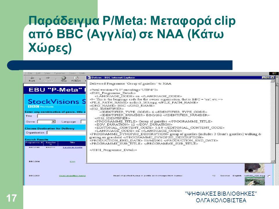 ΨΗΦΙΑΚΕΣ ΒΙΒΛΙΟΘΗΚΕΣ ΟΛΓΑ ΚΟΛΟΒΙΣΤΕΑ 17 Παράδειγμα P/Meta: Μεταφορά clip από ΒΒC (Αγγλία) σε NAA (Κάτω Χώρες)