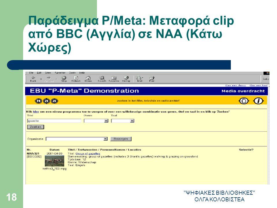 ΨΗΦΙΑΚΕΣ ΒΙΒΛΙΟΘΗΚΕΣ ΟΛΓΑ ΚΟΛΟΒΙΣΤΕΑ 18 Παράδειγμα P/Meta: Μεταφορά clip από ΒΒC (Αγγλία) σε NAA (Κάτω Χώρες)