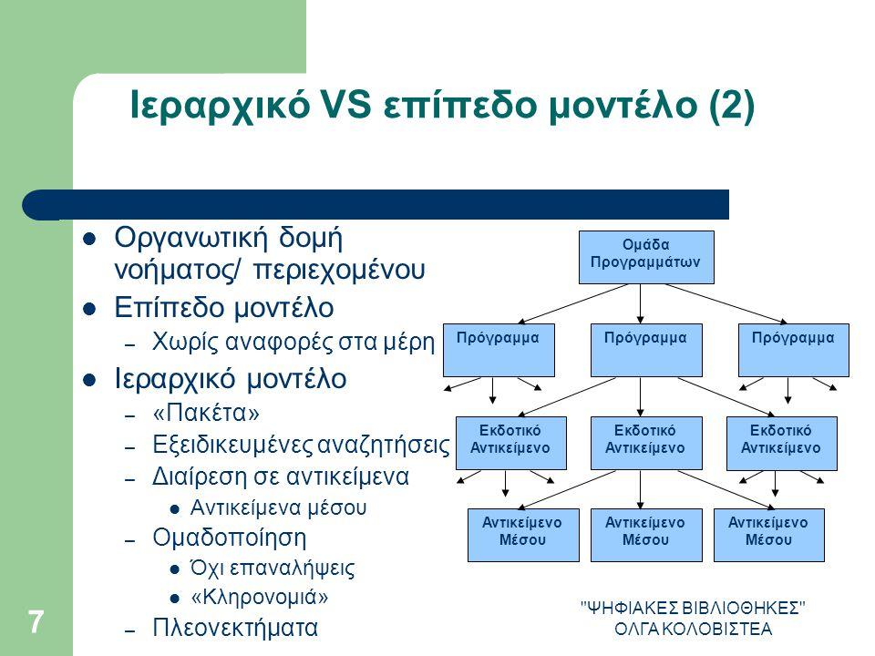 ΨΗΦΙΑΚΕΣ ΒΙΒΛΙΟΘΗΚΕΣ ΟΛΓΑ ΚΟΛΟΒΙΣΤΕΑ 7 Ιεραρχικό VS επίπεδο μοντέλο (2) Οργανωτική δομή νοήματος/ περιεχομένου Επίπεδο μοντέλο – Χωρίς αναφορές στα μέρη Ιεραρχικό μοντέλο – «Πακέτα» – Εξειδικευμένες αναζητήσεις – Διαίρεση σε αντικείμενα Αντικείμενα μέσου – Ομαδοποίηση Όχι επαναλήψεις «Κληρονομιά» – Πλεονεκτήματα Ομάδα Προγραμμάτων Πρόγραμμα Εκδοτικό Αντικείμενο Αντικείμενο Μέσου