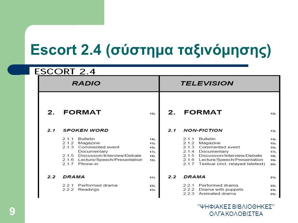 ΨΗΦΙΑΚΕΣ ΒΙΒΛΙΟΘΗΚΕΣ ΟΛΓΑ ΚΟΛΟΒΙΣΤΕΑ 9 Escort 2.4 (σύστημα ταξινόμησης)