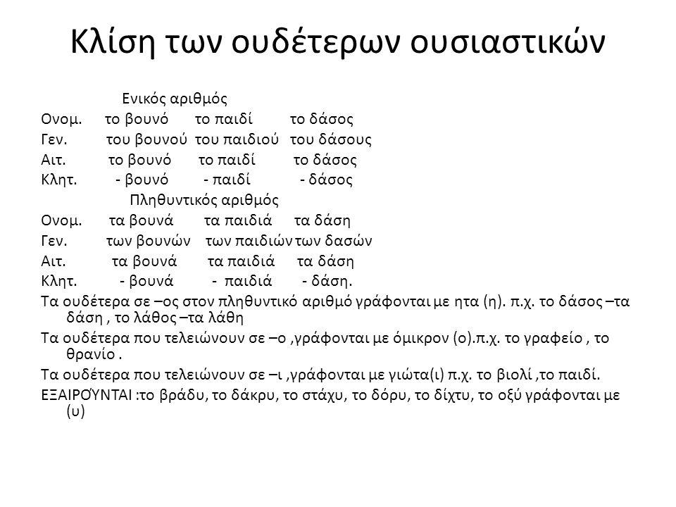 Κλίση των ουδέτερων ουσιαστικών Ενικός αριθμός Ονομ.