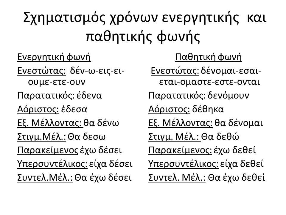 Σχηματισμός χρόνων ενεργητικής και παθητικής φωνής Ενεργητική φωνή Ενεστώτας: δέν-ω-εις-ει- ουμε-ετε-ουν Παρατατικός: έδενα Αόριστος: έδεσα Εξ.
