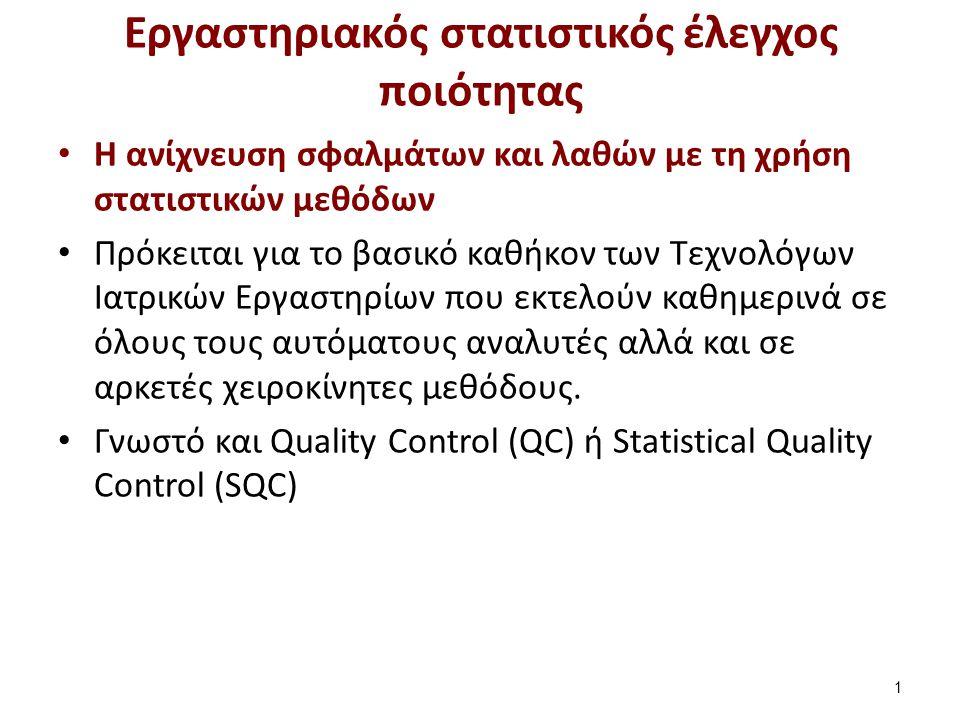 Εργαστηριακός στατιστικός έλεγχος ποιότητας H ανίχνευση σφαλμάτων και λαθών με τη χρήση στατιστικών μεθόδων Πρόκειται για το βασικό καθήκον των Τεχνολ