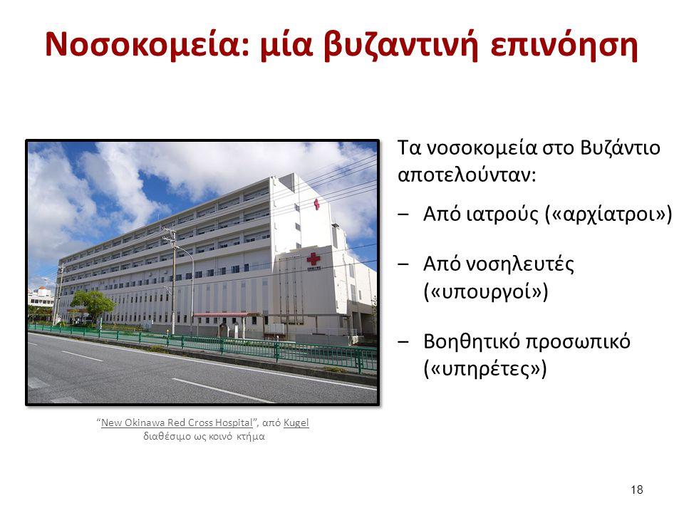 Νοσοκομεία: μία βυζαντινή επινόηση Τα νοσοκομεία στο Βυζάντιο αποτελούνταν: ‒Από ιατρούς («αρχίατροι») ‒Από νοσηλευτές («υπουργοί») ‒Βοηθητικό προσωπι