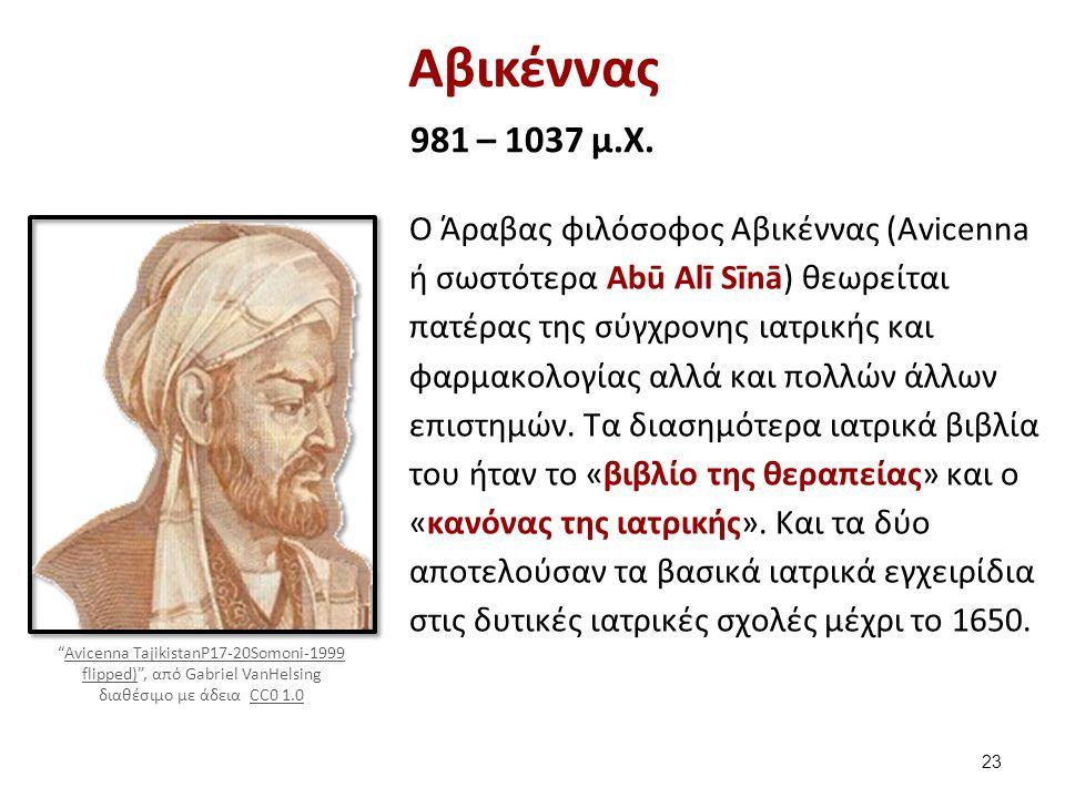 Αβικέννας 981 – 1037 μ.X. Ο Άραβας φιλόσοφος Αβικέννας (Avicenna ή σωστότερα Abū Alī Sīnā) θεωρείται πατέρας της σύγχρονης ιατρικής και φαρμακολογίας