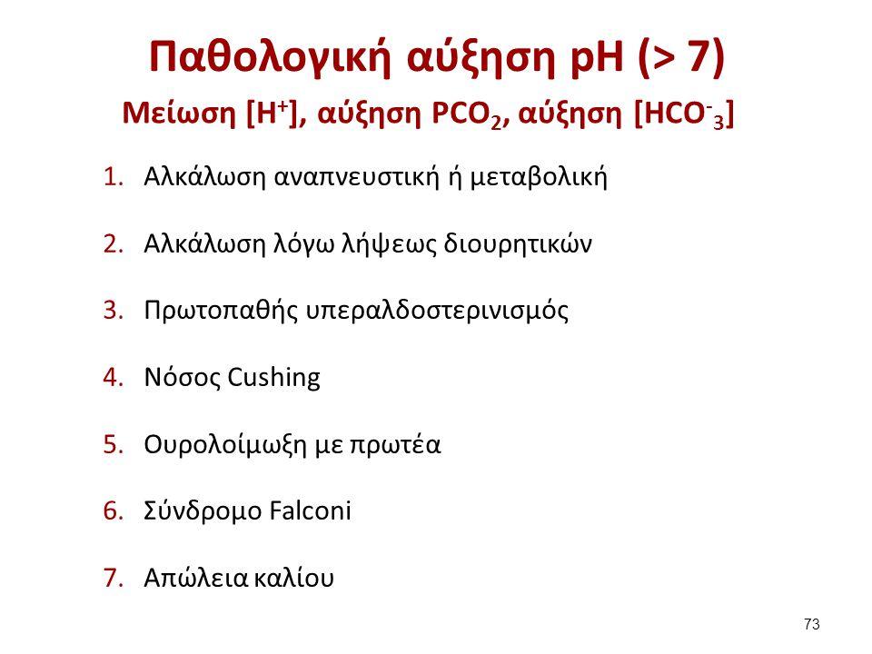 Παθολογική αύξηση pH (> 7) 1.Αλκάλωση αναπνευστική ή μεταβολική 2.Αλκάλωση λόγω λήψεως διουρητικών 3.Πρωτοπαθής υπεραλδοστερινισμός 4.Νόσος Cushing 5.