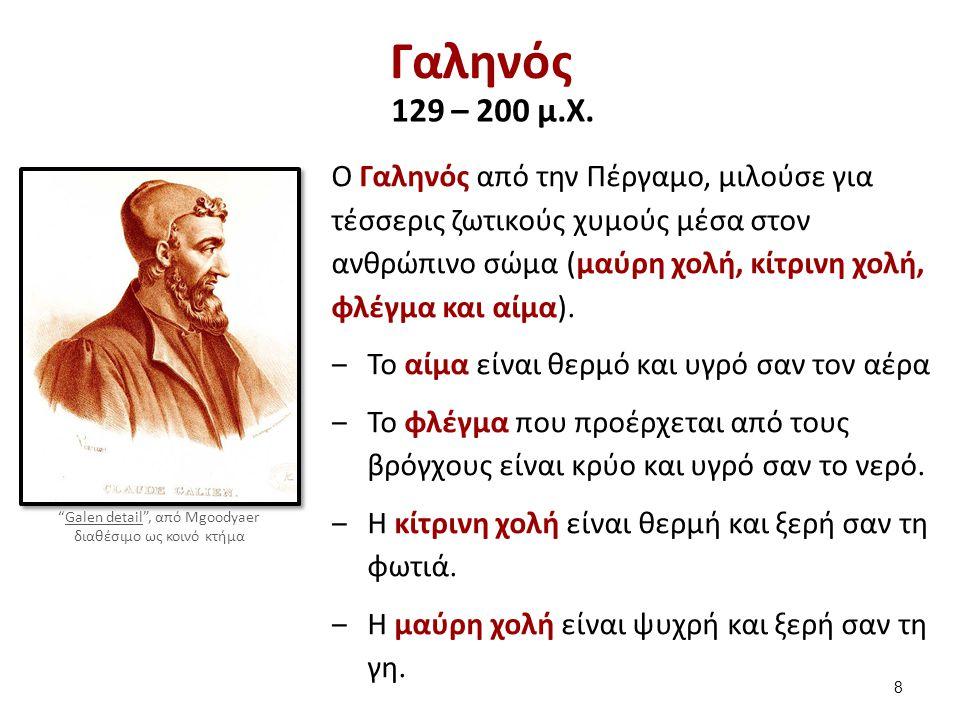 Γαληνός 129 – 200 μ.X. Ο Γαληνός από την Πέργαμο, μιλούσε για τέσσερις ζωτικούς χυμούς μέσα στον ανθρώπινο σώμα (μαύρη χολή, κίτρινη χολή, φλέγμα και