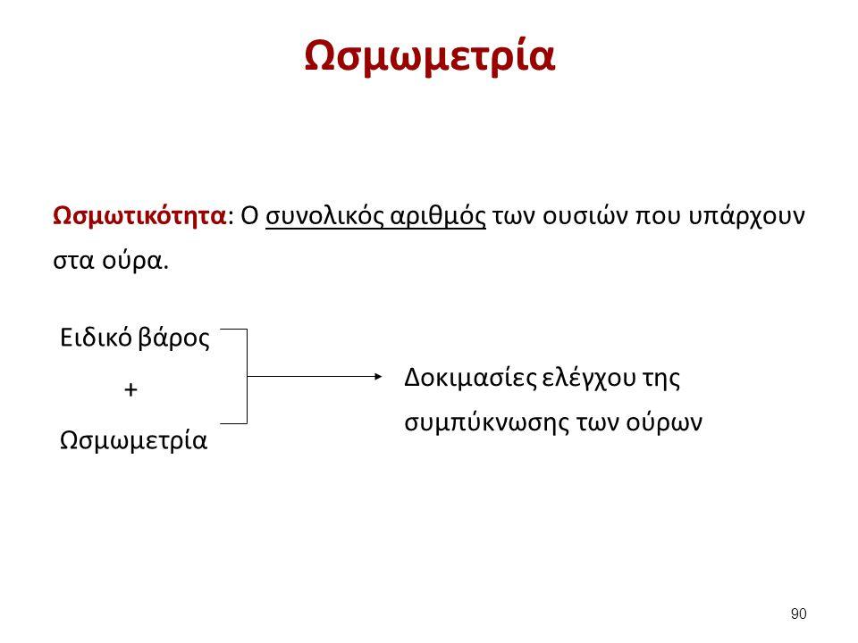 Ωσμωμετρία Ωσμωτικότητα: Ο συνολικός αριθμός των ουσιών που υπάρχουν στα ούρα. Eιδικό βάρος + Ωσμωμετρία Δοκιμασίες ελέγχου της συμπύκνωσης των ούρων