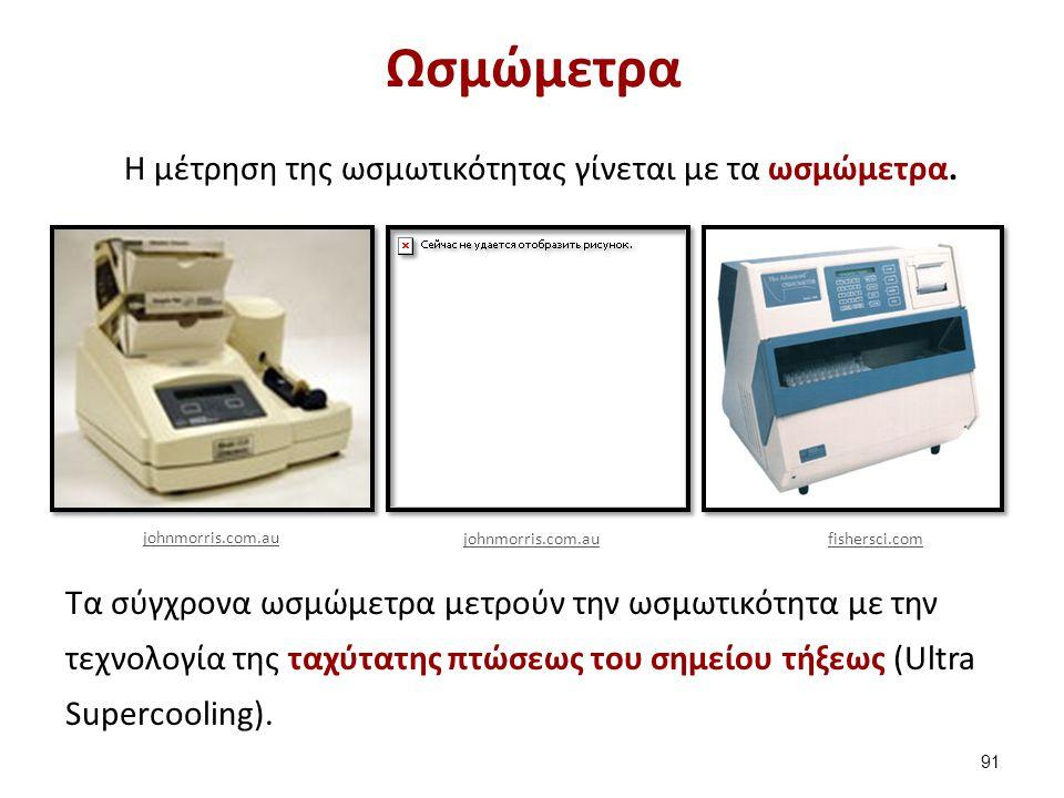 Ωσμώμετρα H μέτρηση της ωσμωτικότητας γίνεται με τα ωσμώμετρα. Τα σύγχρονα ωσμώμετρα μετρούν την ωσμωτικότητα με την τεχνολογία της ταχύτατης πτώσεως