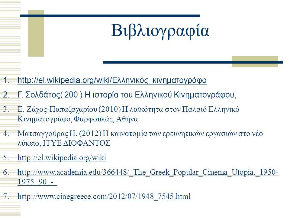 Βιβλιογραφία 1.http://el.wikipedia.org/wiki/Ελληνικός_κινηματογράφοhttp://el.wikipedia.org/wiki/Ελληνικός_κινηματογράφο 2.Γ. Σολδάτος( 200 ) Η ιστορία