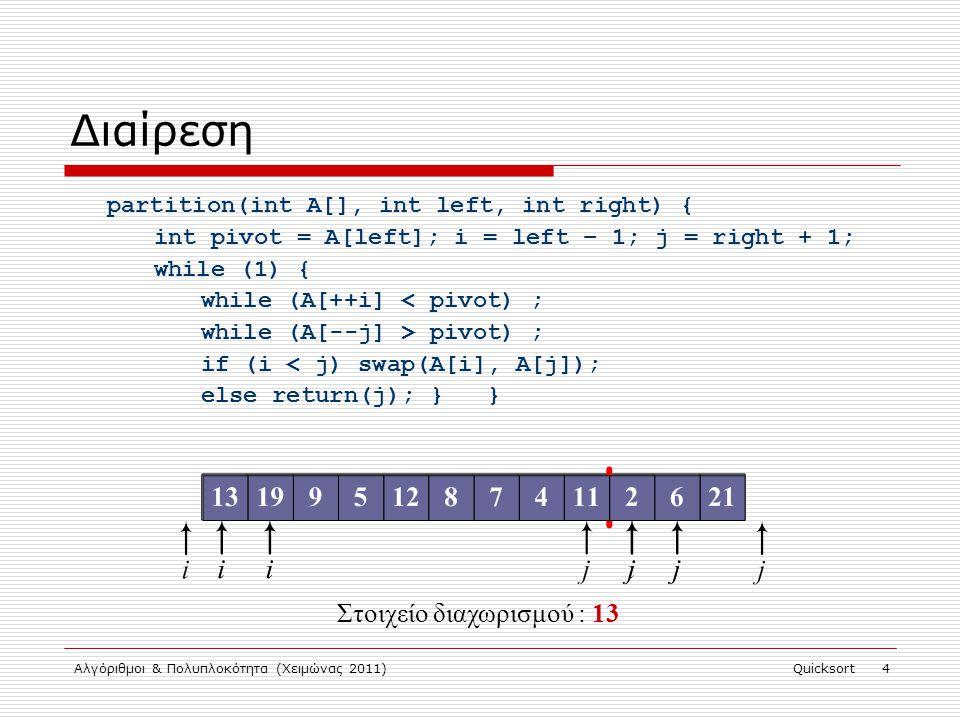 Αλγόριθμοι & Πολυπλοκότητα (Χειμώνας 2011)Quicksort 5 Διαίρεση partition(int A[], int left, int right) { int pivot = A[left]; i = left – 1; j = right + 1; while (1) { while (A[++i] pivot) ; if (i < j) swap(A[i], A[j]); else return(j); } } Στοιχείο διαχωρισμού : 10