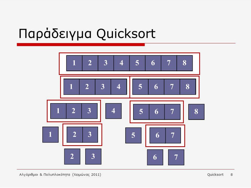 Αλγόριθμοι & Πολυπλοκότητα (Χειμώνας 2011)Quicksort 9 Ορθότητα Quicksort  Συνέπεια ορθότητας partition : Τερματισμός : μέγεθος υπο-ακολουθιών  n – 1.
