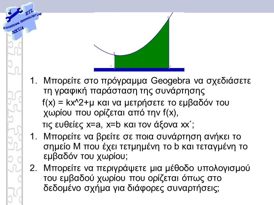 1.Μπορείτε στο πρόγραμμα Geogebra να σχεδιάσετε τη γραφική παράσταση της συνάρτησης f(x) = kx^2+μ και να μετρήσετε το εμβαδόν του χωρίου που ορίζεται