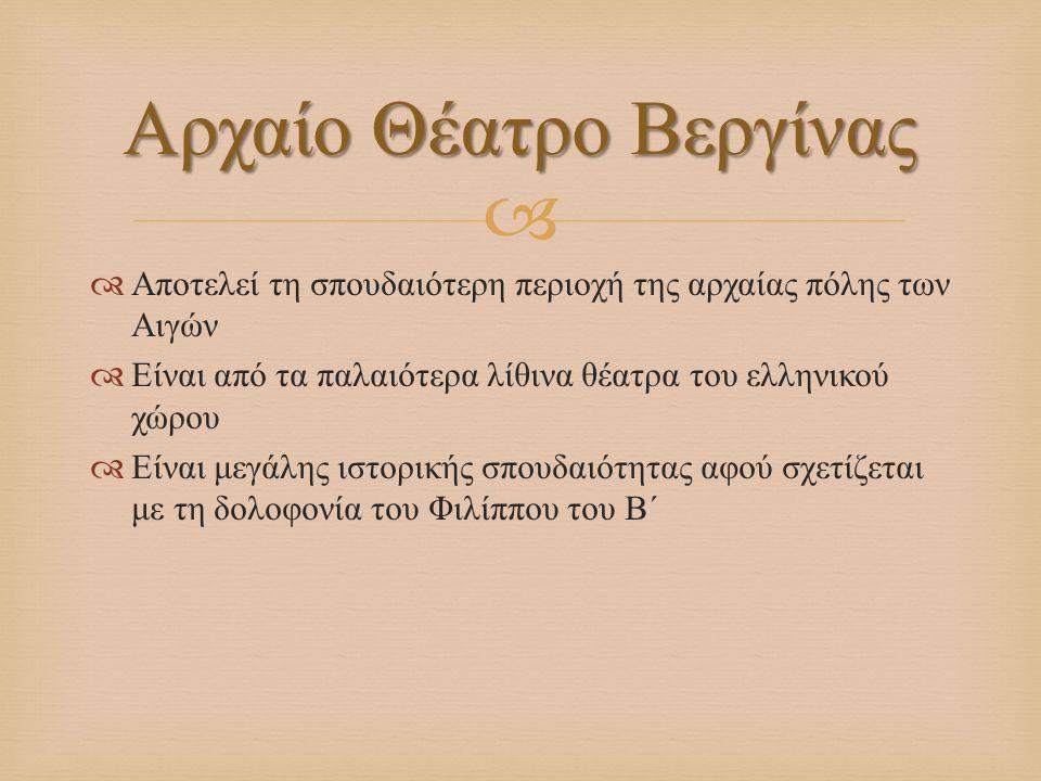   Αποτελεί τη σπουδαιότερη περιοχή της αρχαίας πόλης των Αιγών  Είναι από τα παλαιότερα λίθινα θέατρα του ελληνικού χώρου  Είναι μεγάλης ιστορικής