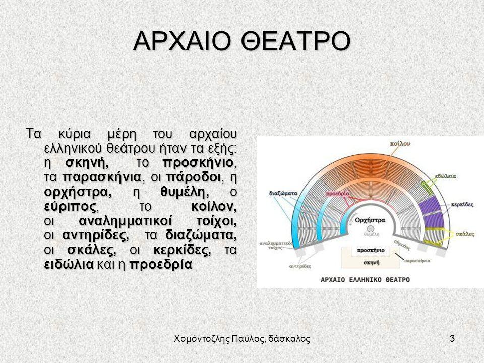 Χομόντοζλης Παύλος, δάσκαλος3 ΑΡΧΑΙΟ ΘΕΑΤΡΟ Τα κύρια μέρη του αρχαίου ελληνικού θεάτρου ήταν τα εξής: η σκηνή, το προσκήνιο, τα παρασκήνια, οι πάροδοι, η ορχήστρα, η θυμέλη, ο εύριπος, το κοίλον, οι αναλημματικοί τοίχοι, οι αντηρίδες, τα διαζώματα, οι σκάλες, οι κερκίδες, τα ειδώλια και η προεδρία
