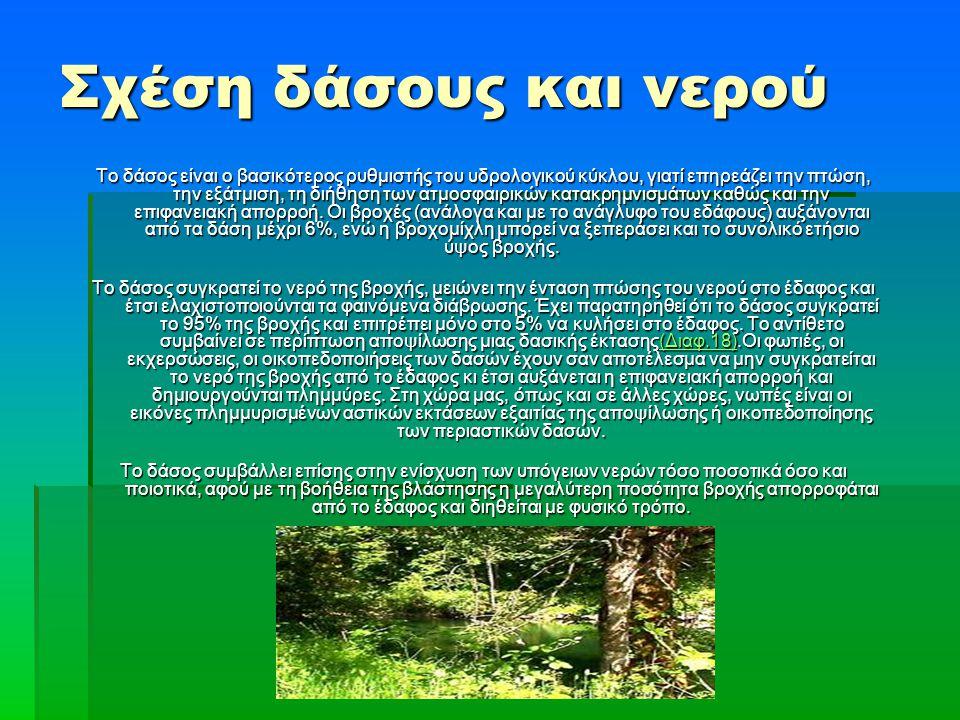 Το δάσος είναι ο βασικότερος ρυθμιστής του υδρολογικού κύκλου, γιατί επηρεάζει την πτώση, την εξάτμιση, τη διήθηση των ατμοσφαιρικών κατακρημνισμάτων