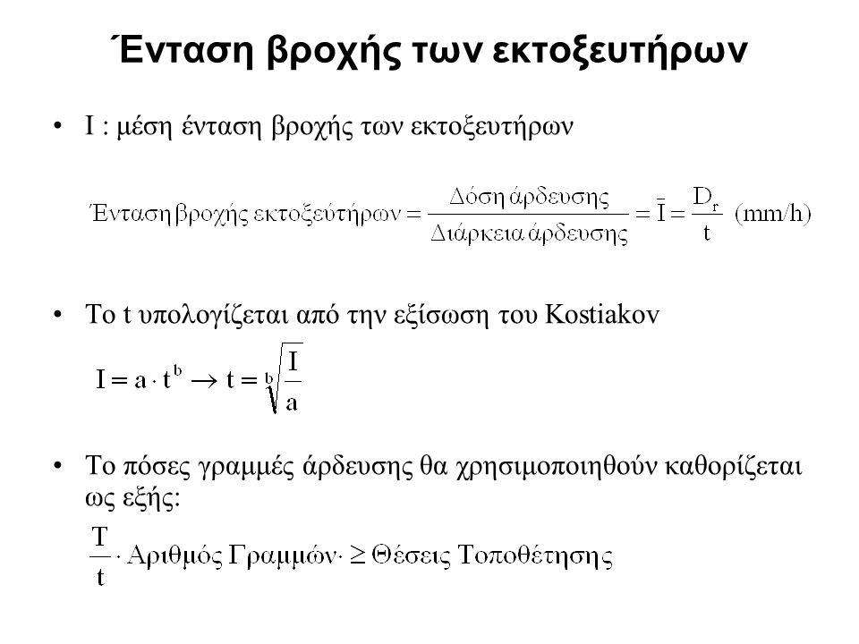 Ένταση βροχής των εκτοξευτήρων Ι : μέση ένταση βροχής των εκτοξευτήρων Το t υπολογίζεται από την εξίσωση του Kostiakov Το πόσες γραμμές άρδευσης θα χρ
