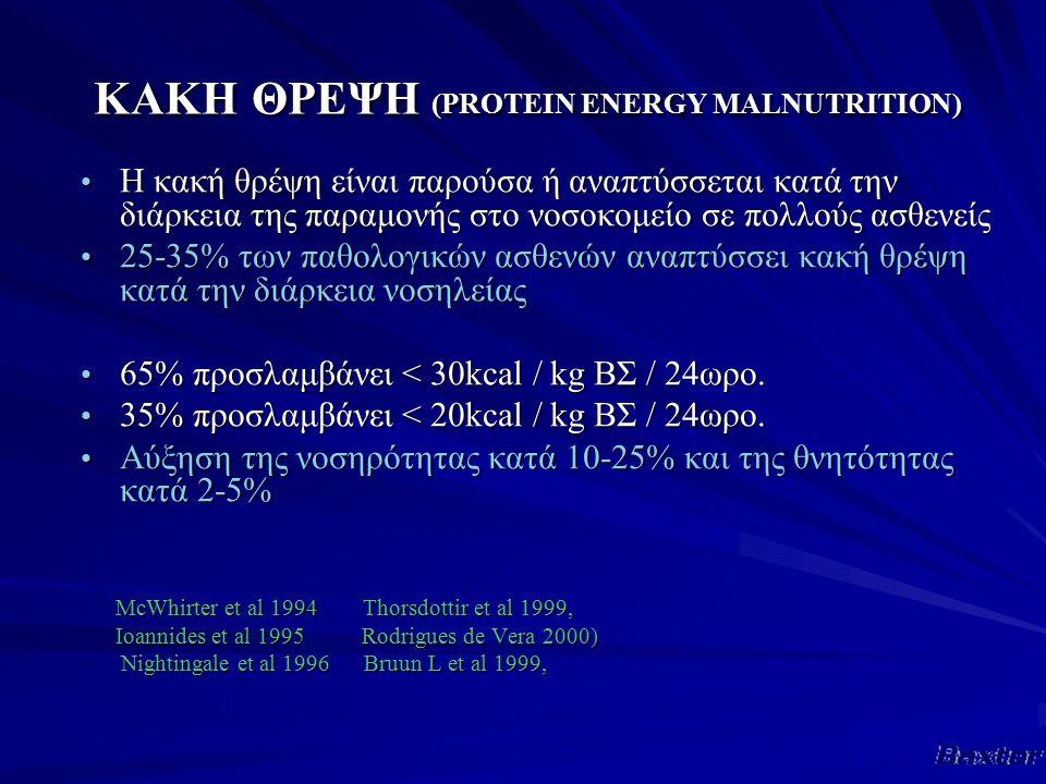 ΚΑΚΗ ΘΡΕΨΗ (PROTEIN ENERGY MALNUTRITION) Η κακή θρέψη είναι παρούσα ή αναπτύσσεται κατά την διάρκεια της παραμονής στο νοσοκομείο σε πολλούς ασθενείς Η κακή θρέψη είναι παρούσα ή αναπτύσσεται κατά την διάρκεια της παραμονής στο νοσοκομείο σε πολλούς ασθενείς 25-35% των παθολογικών ασθενών αναπτύσσει κακή θρέψη κατά την διάρκεια νοσηλείας 25-35% των παθολογικών ασθενών αναπτύσσει κακή θρέψη κατά την διάρκεια νοσηλείας 65% προσλαμβάνει < 30kcal / kg ΒΣ / 24ωρο.