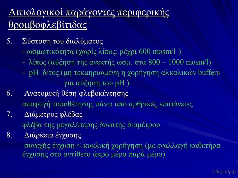 Αιτιολογικοί παράγοντες περιφερικής θρομβοφλεβίτιδας 5.