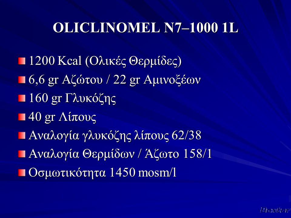 OLICLINOMEL Ν7–1000 1L 1200 Κcal (Ολικές Θερμίδες) 6,6 gr Αζώτου / 22 gr Αμινοξέων 160 gr Γλυκόζης 40 gr Λίπους Αναλογία γλυκόζης λίπους 62/38 Αναλογία Θερμίδων / Άζωτο 158/1 Οσμωτικότητα 1450 mosm/l