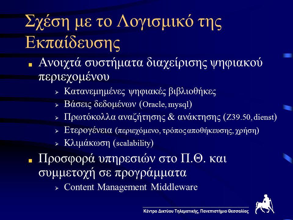 ________________________________________________ Κέντρο Δικτύου Τηλεματικής, Πανεπιστήμιο Θεσσαλίας Σχέση με το Λογισμικό της Εκπαίδευσης Ανοιχτά συστήματα διαχείρισης ψηφιακού περιεχομένου  Κατανεμημένες ψηφιακές βιβλιοθήκες  Βάσεις δεδομένων ( Oracle, mysql )  Πρωτόκολλα αναζήτησης & ανάκτησης ( Z39.50, dienst )  Ετερογένεια (περιεχόμενο, τρόπος αποθήκευσης, χρήση)  Κλιμάκωση ( scalability ) Προσφορά υπηρεσιών στο Π.Θ.