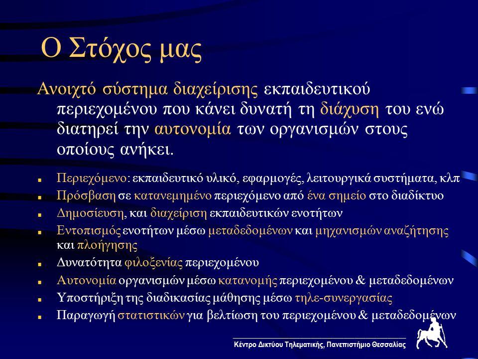 ________________________________________________ Κέντρο Δικτύου Τηλεματικής, Πανεπιστήμιο Θεσσαλίας Αρχιτεκτονική Συστήματος ανάκληση Κόμβος Διαχείρισης Διεπαφή Χρήσης μέσα από το Διαδίκτυο Φιλοξενία Περιεχομένου Βάση Οργανωμένου Περιεχομένου Βάση Οργανωμένου Περιεχομένου Βάση Στατιστικών Ανεξάρτητο Περιεχόμενο Βάση Μεταδεδομένων αποτελέσματααναζήτηση ανάκληση παρουσίαση δημοσίευση ανάλυση στατιστικών συλλογή στατιστικών Μηχανή Αναζήτησης Μηχανή Ανάκλησης Μηχανή Δημοσίευσης Περιβάλλον Συνεργασίας