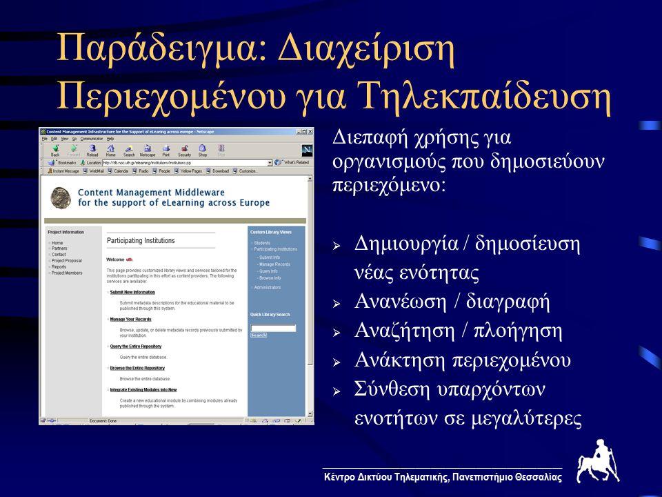 ________________________________________________ Κέντρο Δικτύου Τηλεματικής, Πανεπιστήμιο Θεσσαλίας Παράδειγμα: Διαχείριση Περιεχομένου για Τηλεκπαίδευση Διεπαφή χρήσης για οργανισμούς που δημοσιεύουν περιεχόμενο:  Δημιουργία / δημοσίευση νέας ενότητας  Ανανέωση / διαγραφή  Αναζήτηση / πλοήγηση  Ανάκτηση περιεχομένου  Σύνθεση υπαρχόντων ενοτήτων σε μεγαλύτερες