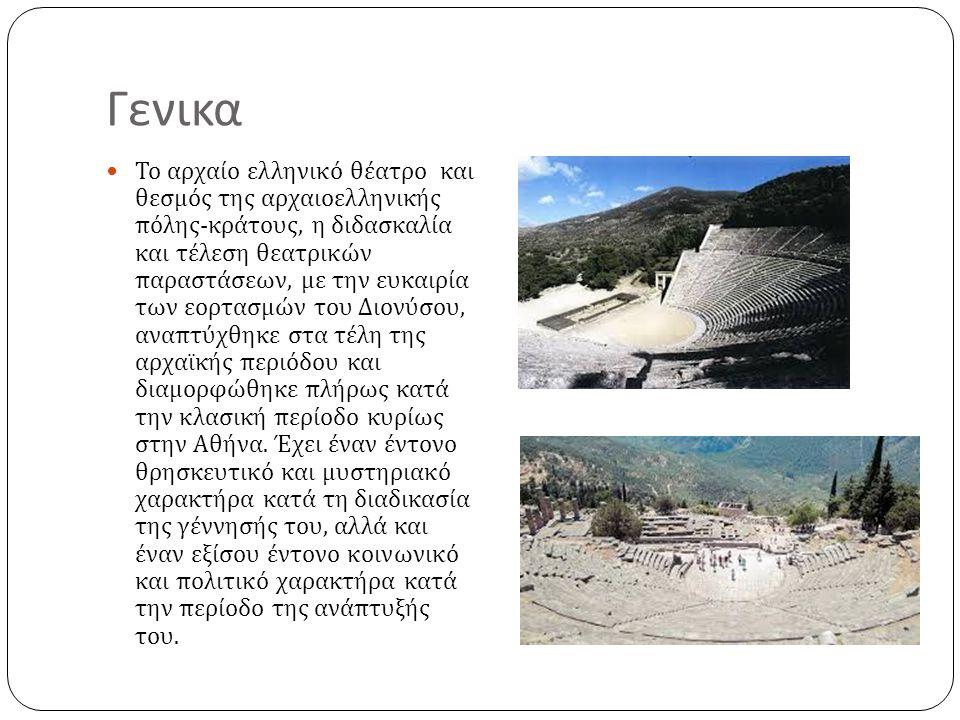 Οι χώροι 1 Τα κύρια μέρη του αρχαίου ελληνικού θεάτρου ήταν η σκηνή, η ορχήστρα και το κοίλον, με τα ακόλουθα επιμέρους μέρη : Η σκηνή : ορθογώνιο, μακρόστενο κτήριο, που προστέθηκε κατά τον 5 ο αι.