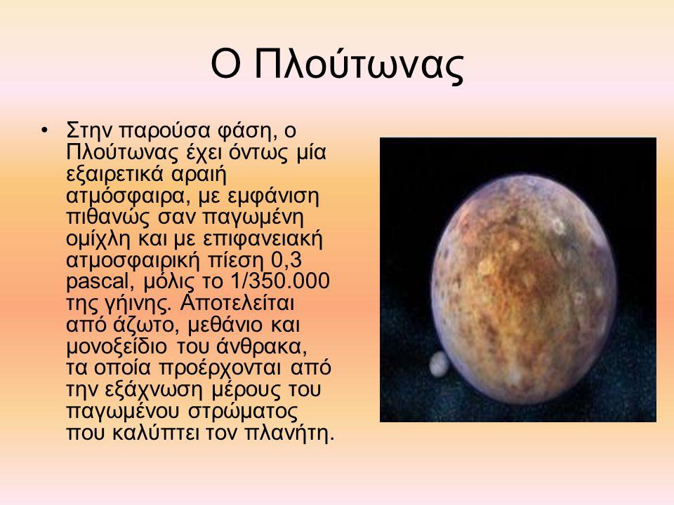 Ο Πλούτωνας Στην παρούσα φάση, ο Πλούτωνας έχει όντως μία εξαιρετικά αραιή ατμόσφαιρα, με εμφάνιση πιθανώς σαν παγωμένη ομίχλη και με επιφανειακή ατμοσφαιρική πίεση 0,3 pascal, μόλις το 1/350.000 της γήινης.