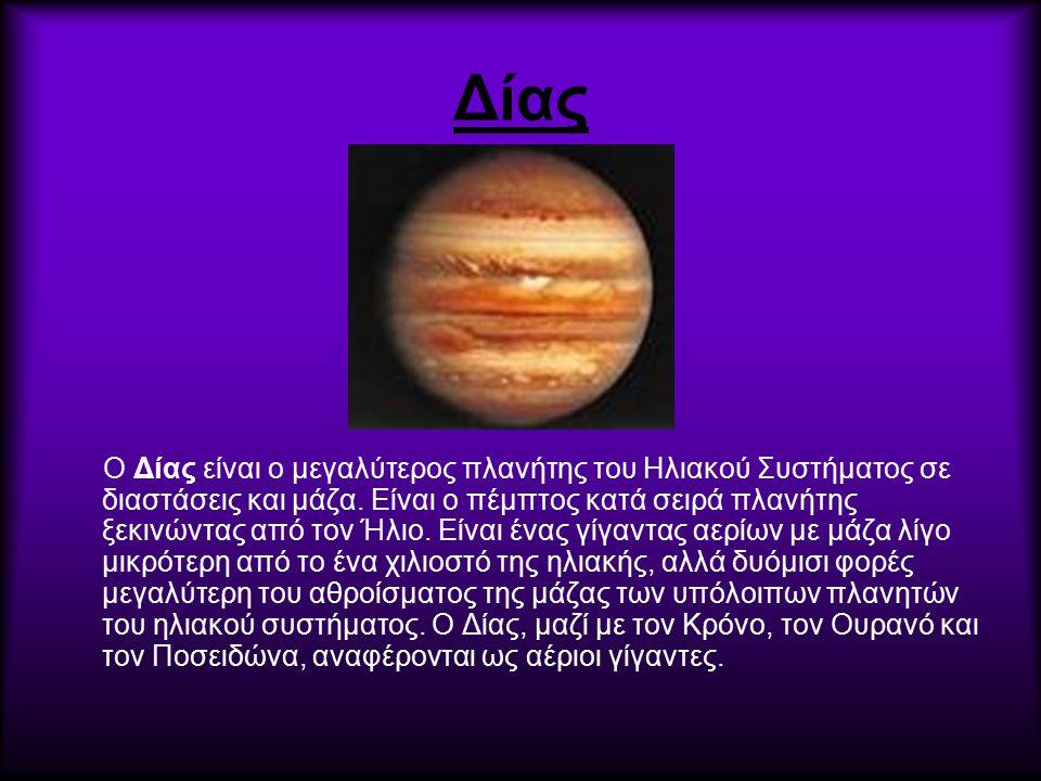 Δίας O Δίας είναι ο μεγαλύτερος πλανήτης του Ηλιακού Συστήματος σε διαστάσεις και μάζα. Είναι ο πέμπτος κατά σειρά πλανήτης ξεκινώντας από τον Ήλιο. Ε